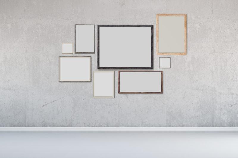 Wanddeko Wohnzimmer: Wandbilder kreativ arrangiert