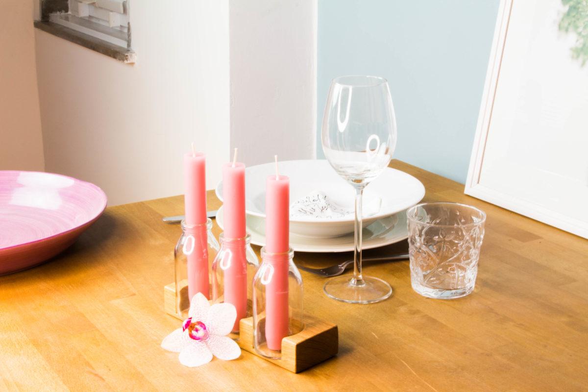 Tischdeko: Durchgefärbte Stabkerzen Erika (rosa)
