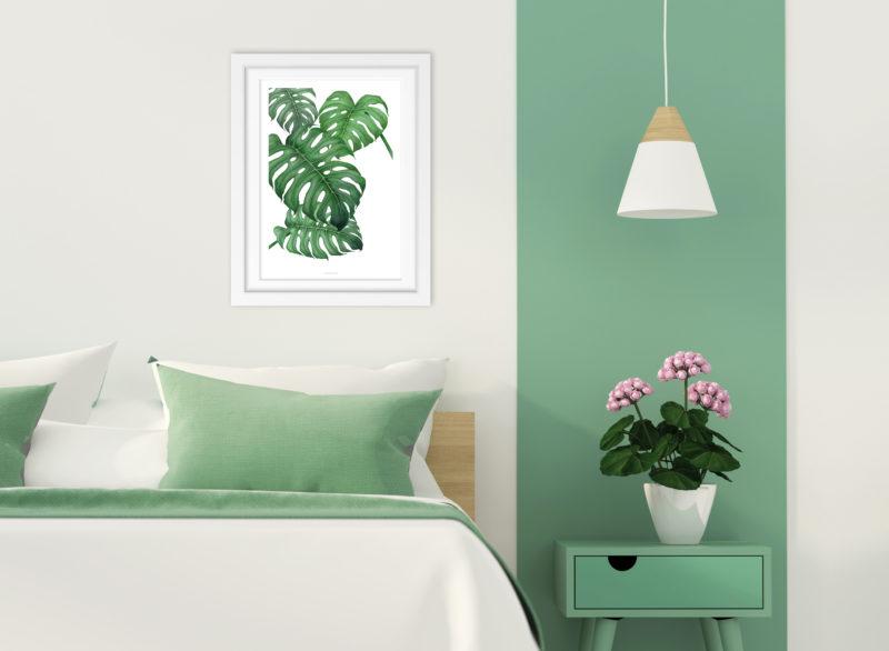 A3-Print Tropical mit grünen Palmenblättern
