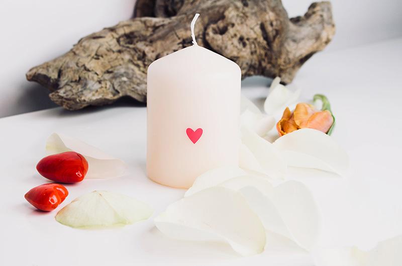 Geschenkideen: Kleine Kerze mit Herz