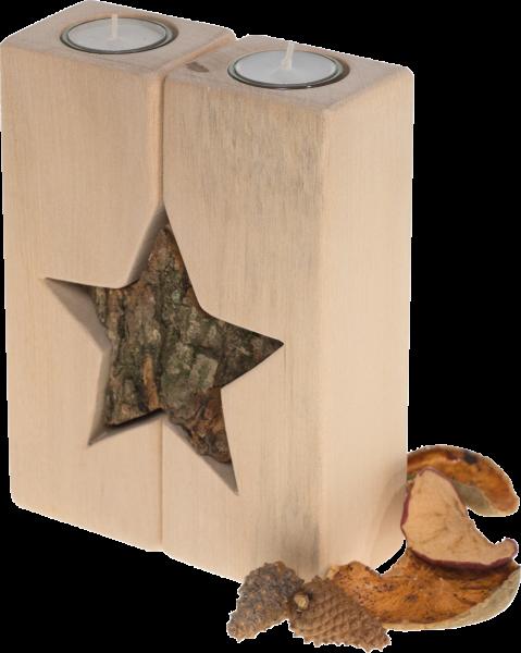 3-teiliger Teelichthalter mit Stern