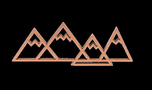 3-D Wandmotiv Berge - Kupfer