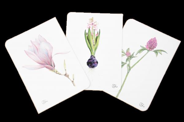 Set Motivkarten Blüten Rot -A6