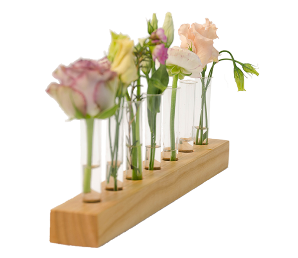 Holzvase mit 7 Reagenzgläsern - Kirsche