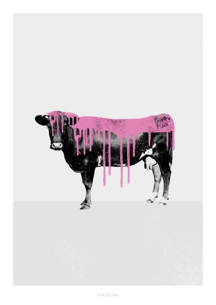 """A4-Print """"Pink Cow"""""""