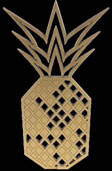 3-D Wandmotiv Ananas - Gold