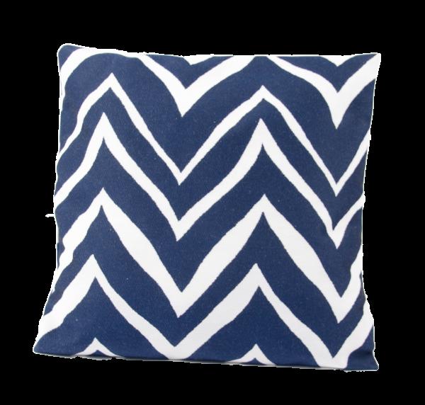 Kissenhülle 50x50 Weiß, Blau gemustert