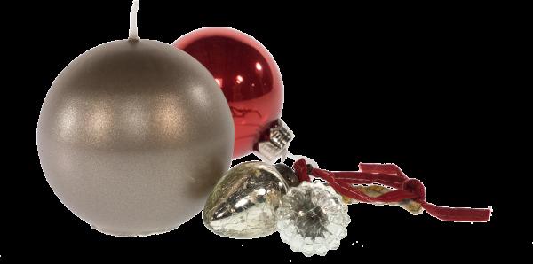 Weihnachtskerze Kugelkerze - Kiesel